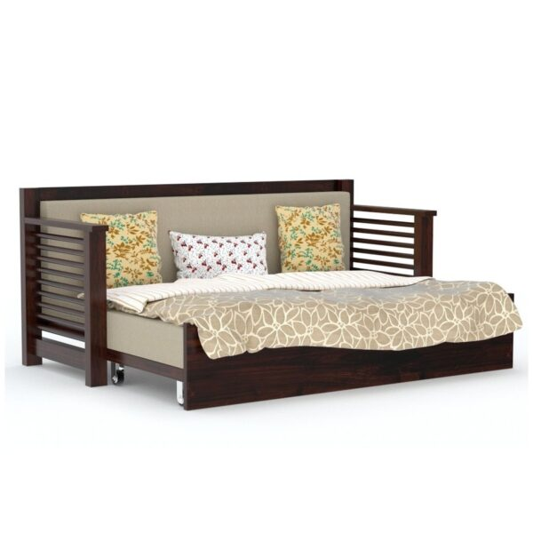 Strip Sofa cum bed walnut finish-0