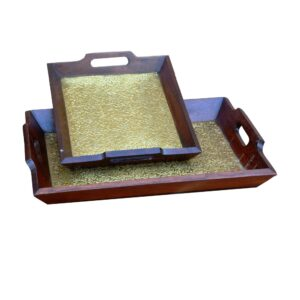 Designer Brass Cladded set of 2 Trays-0