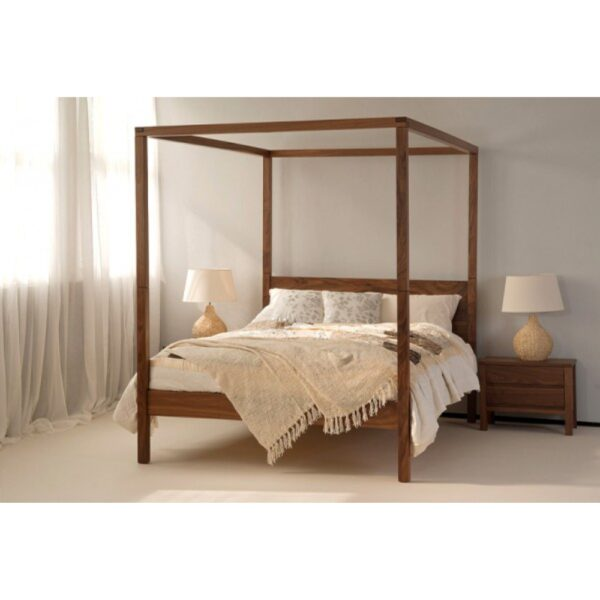 Contemporary design four poster bed queen size natural honey finish-0