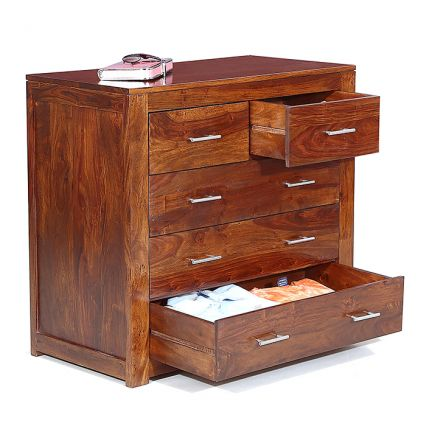 Five Drawer Chest Natural Honey Finish-0