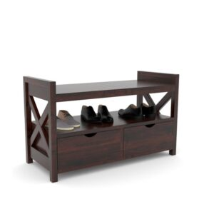 Two Drawer Shoerack mohogany with seating -0