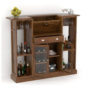 Open bar unit with two small glass doors BAR02-0
