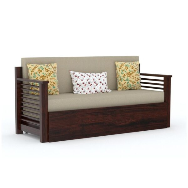 Strip Sofa cum bed walnut finish-64