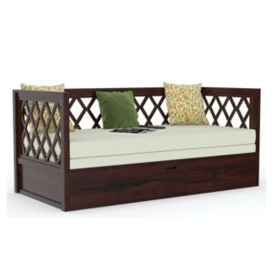 Cross Design Sofa cum bed Walnut finish.-0