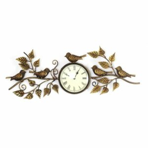Exclusive designer Wall bird and leaf clock Brass finished -0