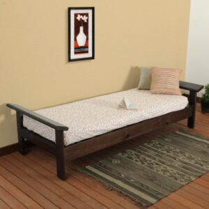 Diwan Bed cum sofa plain walnut-0