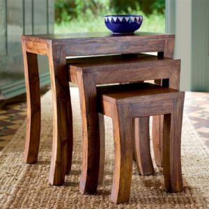 nested stools - wooden set of 3-03