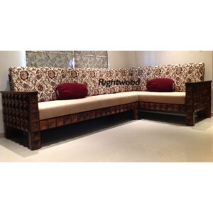 L shaped wooden sofa